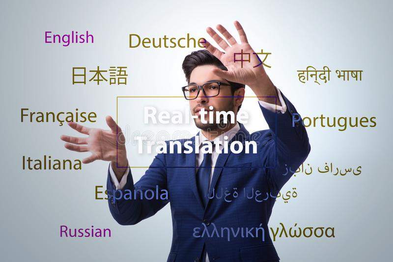 Concept of real time translation from foreign language. The concept of real time translation from foreign language royalty free stock photography