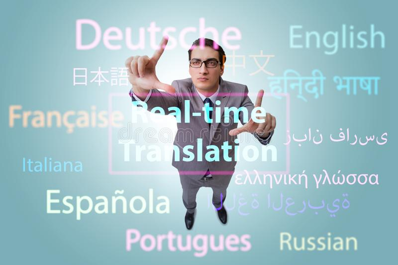 Concept of real time translation from foreign language. The concept of real time translation from foreign language royalty free stock photo