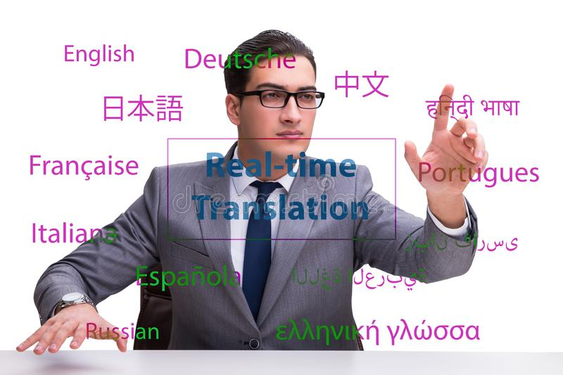 Concept of real time translation from foreign language. The concept of real time translation from foreign language royalty free stock image