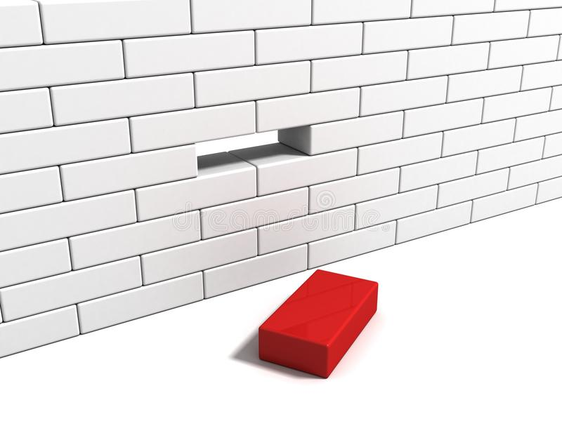 Download Concept With Red Brick From White Wall Stock Illustration - Image: 22011606