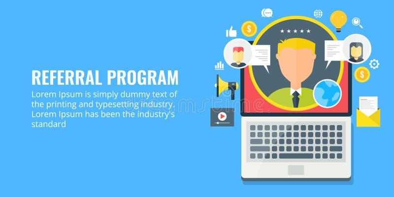 Referral program - network marketing - affiliate partnership. Flat design marketing banner. Concept of referral marketing program, network marketing for royalty free illustration
