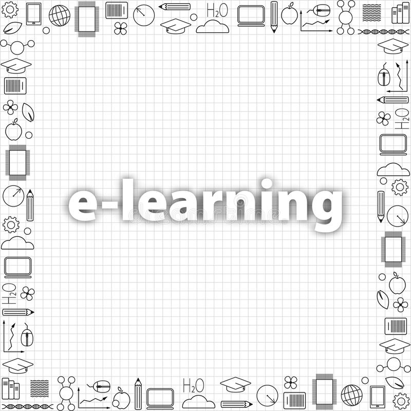 Concept of remote learning. Set of education thin line icons in black. Vector banner template with collection education thin line. Icons and text space. E vector illustration