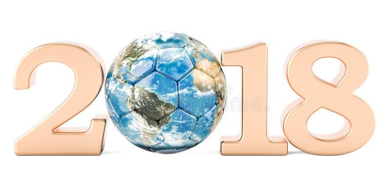 Concept 2018, rendu global du football 3D illustration stock