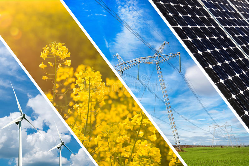 Concept of renewable energy and sustainable resources - photo collage royalty free stock photos
