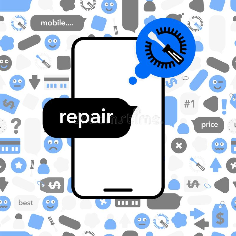 Concept Repair of mobile phones. Phone icon with abstract elements, icons and bubble chat. Illustration banner in modern style on. Pattern stock illustration