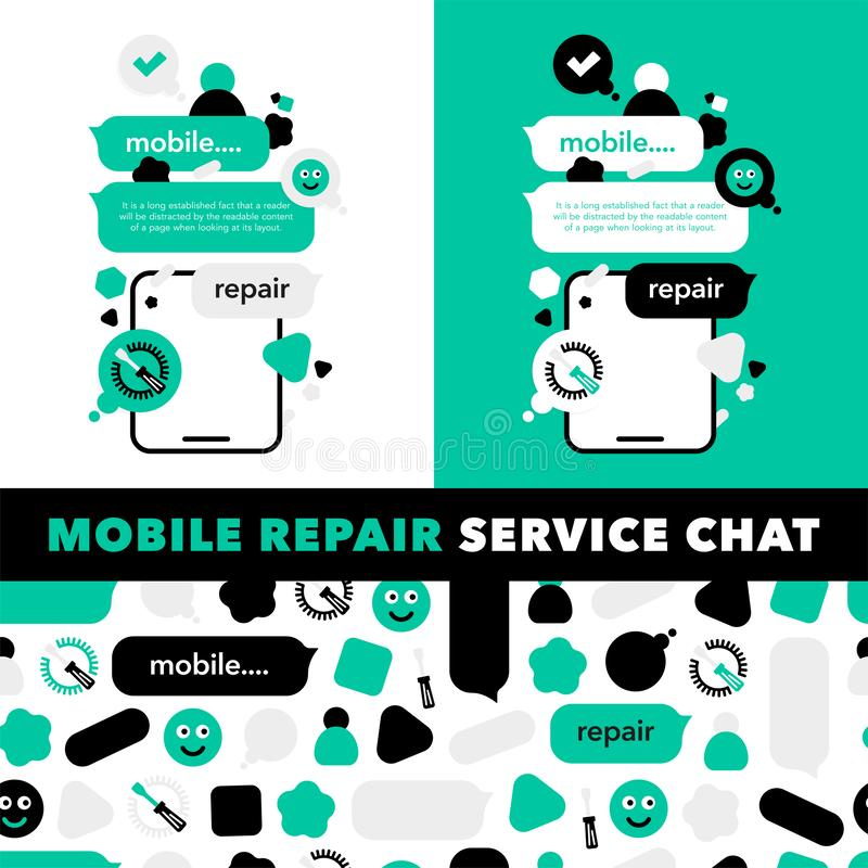 Concept Repair of mobile phones and Service electronic technic with abstract elements, icons and bubble chat. Illustration banner royalty free illustration