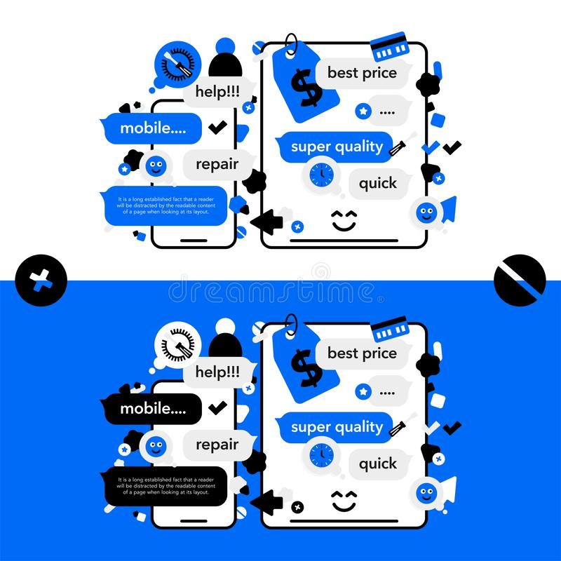 Concept Repair of mobile phones and Service electronic technic with abstract elements, icons and bubble chat. Illustration banner. In modern style vector illustration