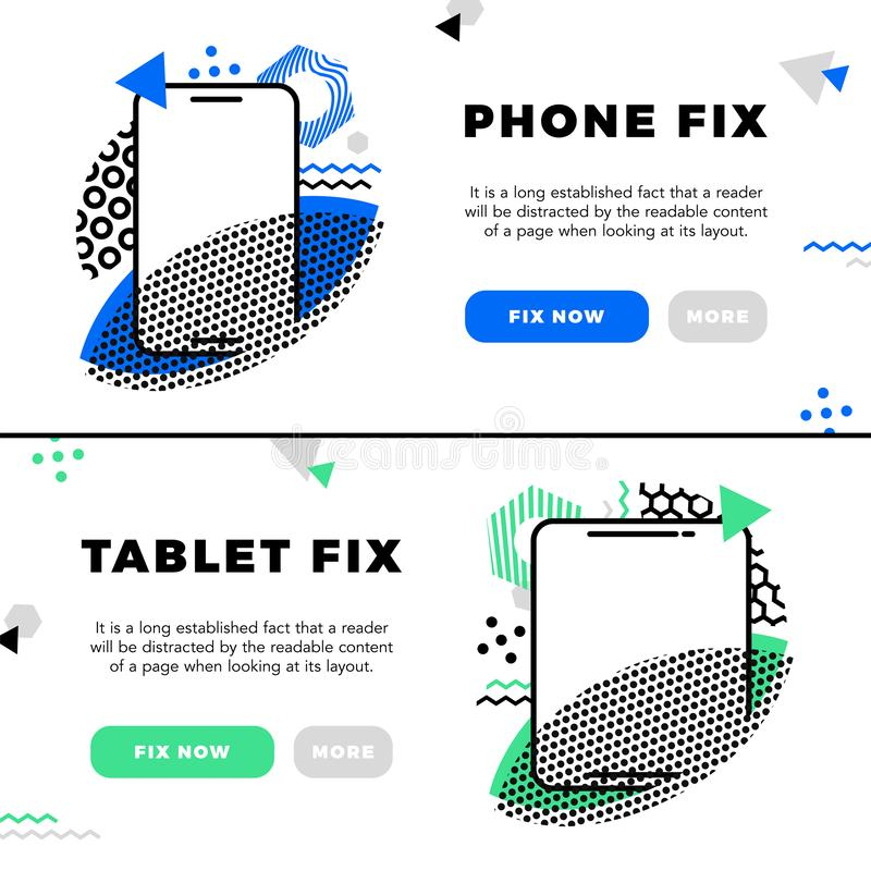 Concept Repair of mobile phones and Service electronic technic with abstract elements, icons and bubble chat. Illustration banner. In modern style royalty free illustration