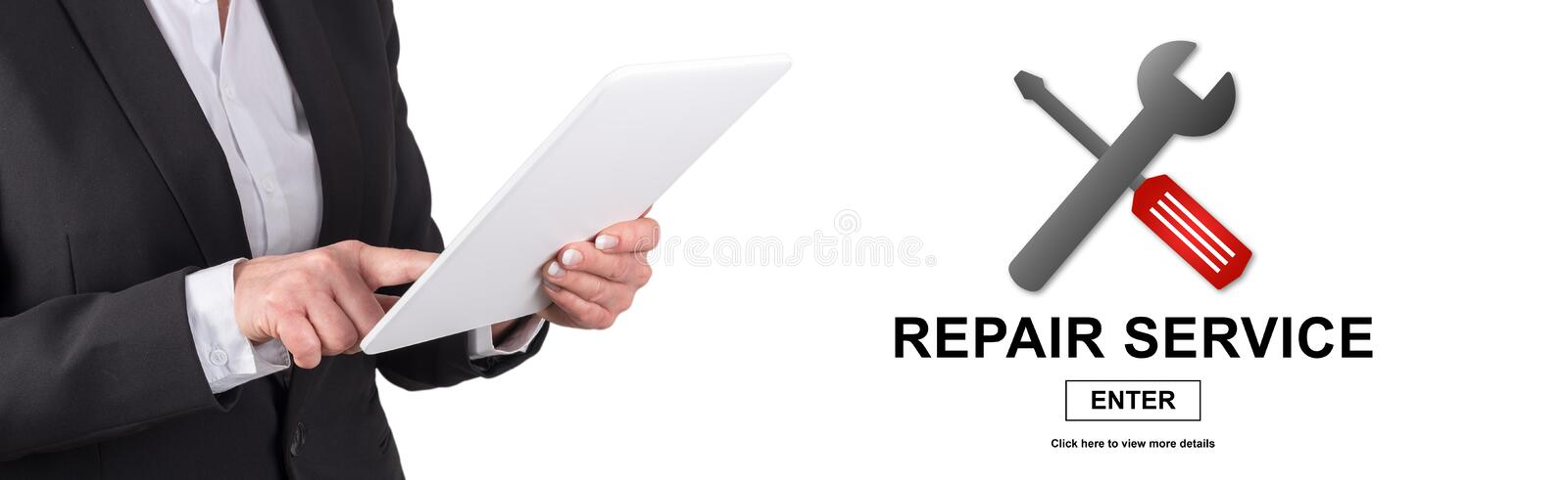 Concept of repair service. Woman using digital tablet with repair service concept on background stock photography