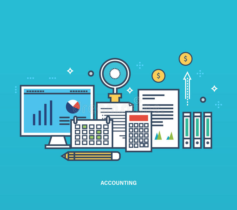 Concept - reporting, types and methods of economic accounting, management planning. royalty free illustration