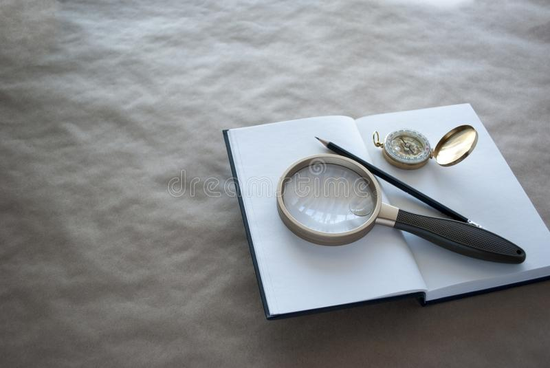 Concept of researching, education, investigation, looking for answers stock photos