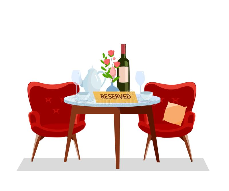 Concept Reserved in cafe. Restaurant table and wine glasses, pot, bottle, cups. Diner setting, soft red armchairs and flowers in royalty free illustration