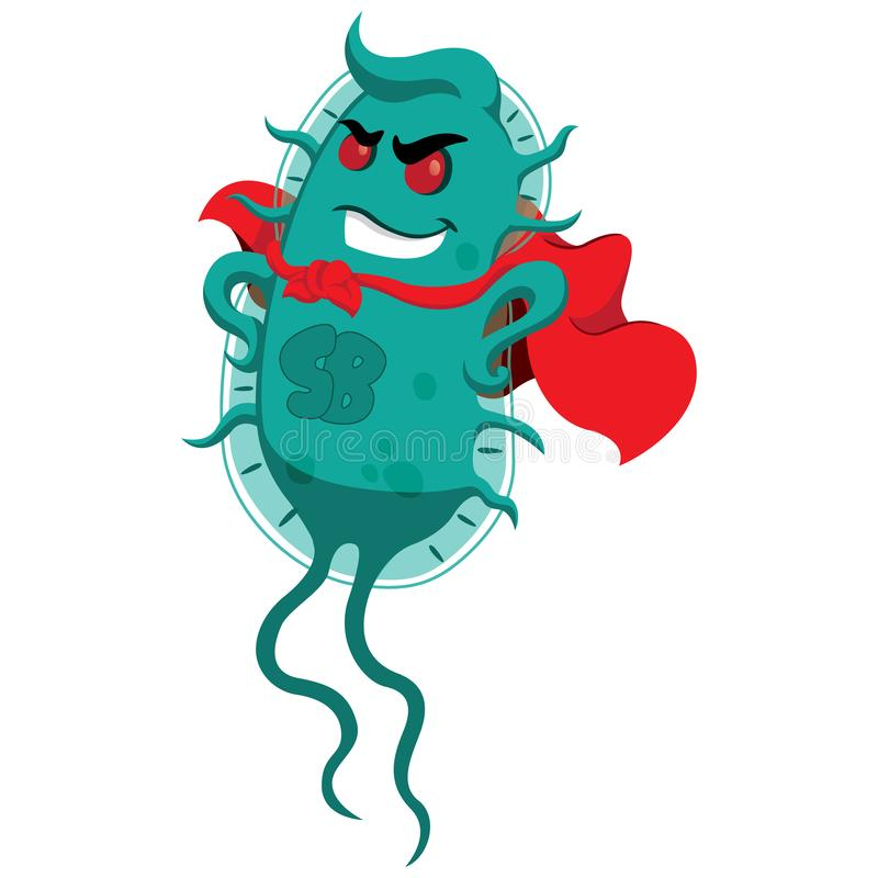 Concept of resistance to antibiotics. Creature superbug a microorganism with cover of super villain. Ideal for informational and medicinal materials on vector illustration