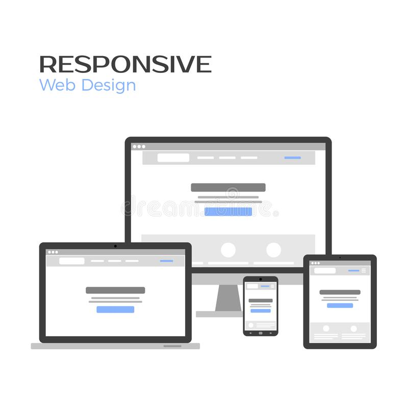 Concept Responsive Web Design. Landing page preview on gadgets screen. Flat vector illustration isolated on white stock illustration