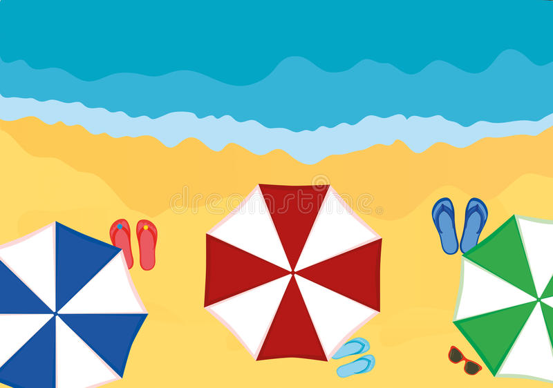 Concept of rest and travel. Umbrellas with and slaps on the beach. Concept of rest and travel. Umbrellas with slaps on the beach. Vector royalty free illustration