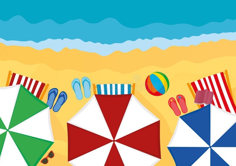 Concept of rest and travel. Umbrellas with sun loungers and slaps. On the beach. Vector stock illustration