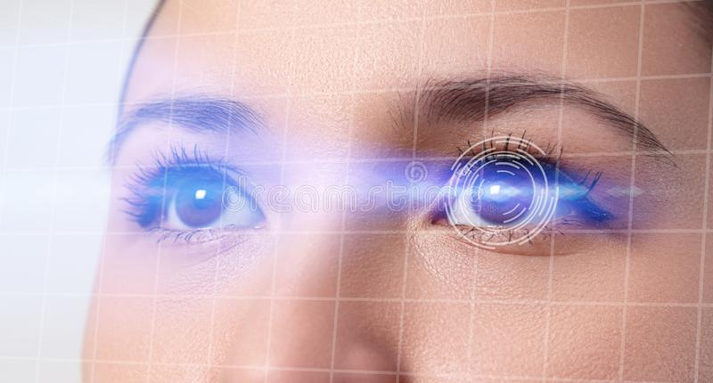 The concept of a retinal scan, augmented reality, the technology of optometry, biometrics royalty free stock image