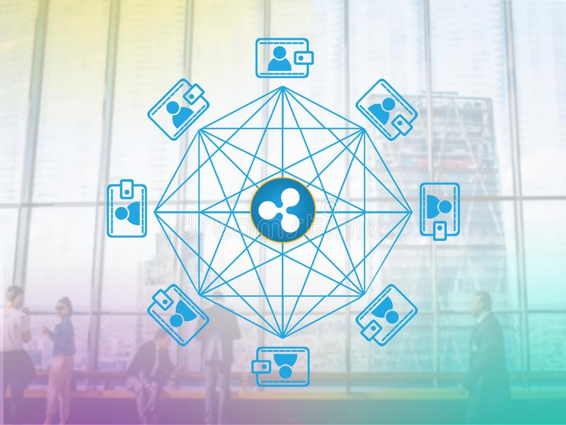 Concept of ripple. Concept of `ripple`, a Cryptocurrency secured chain , Digital money stock photography