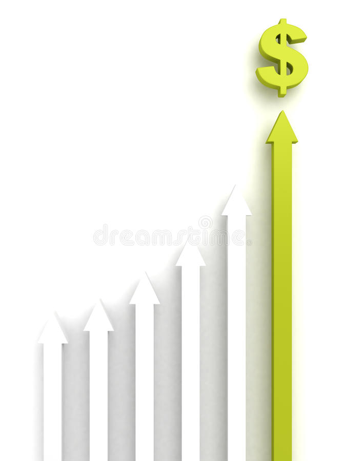 Concept rising group of arrows with green top leader to dollar m vector illustration
