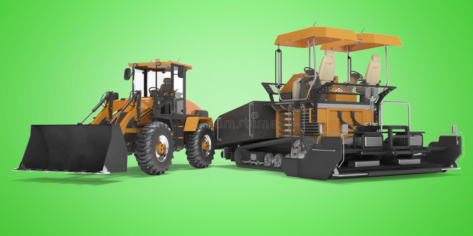 Concept road construction equipment wheeled bulldozer and tracked paver 3d rendering on green background with shadow. Concept road construction equipment wheeled vector illustration