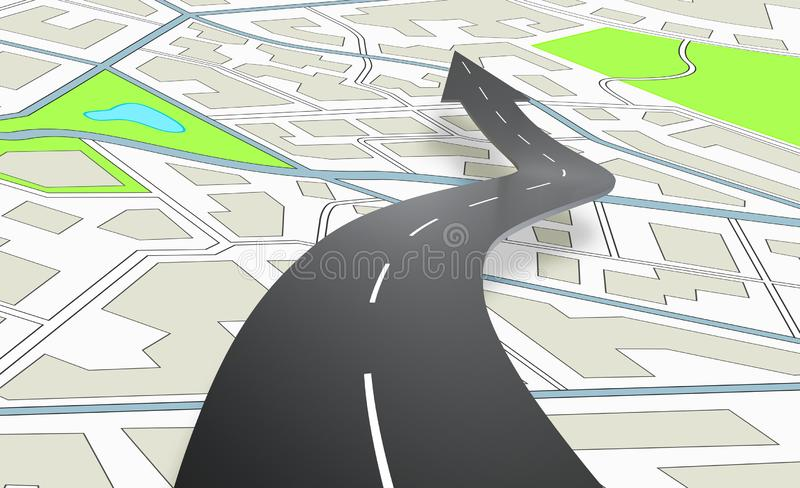Arrow shaped road indicating the direction above a navigation map. 3D Rendering. Concept of road navigation with a city map. 3D Rendering vector illustration