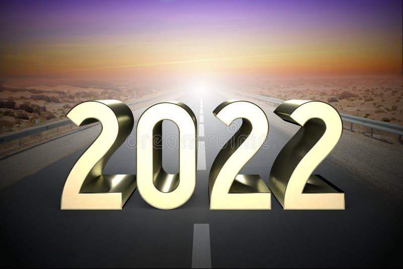 2022 concept, road - 3D rendering royalty free illustration