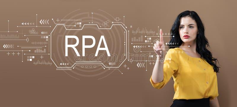 Concept robotique d'automatisation des processus avec la femme d'affaires images libres de droits