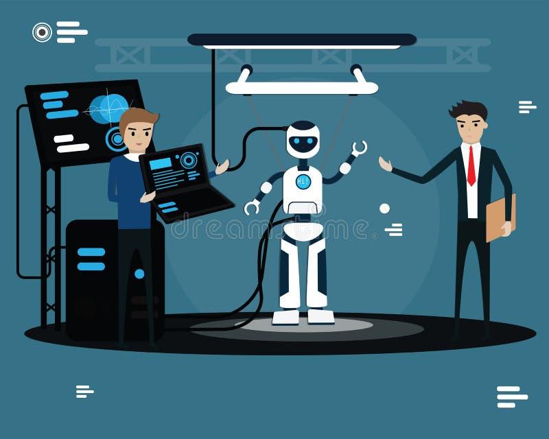 Concept robotique technologique, Programmer charge les données au robot, Processus de construction du concept de conception à pla