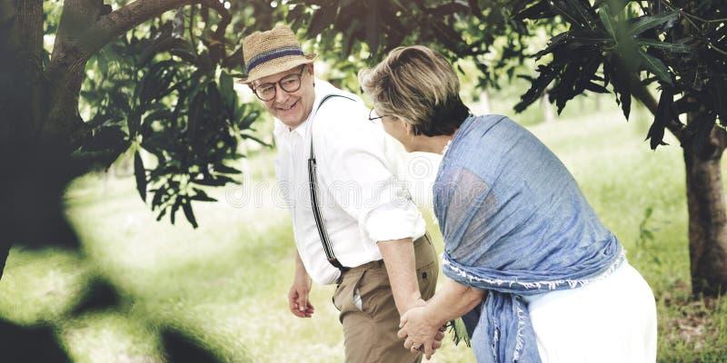 Concept Romance de parc naturel d'amour adulte supérieur de couples photo libre de droits