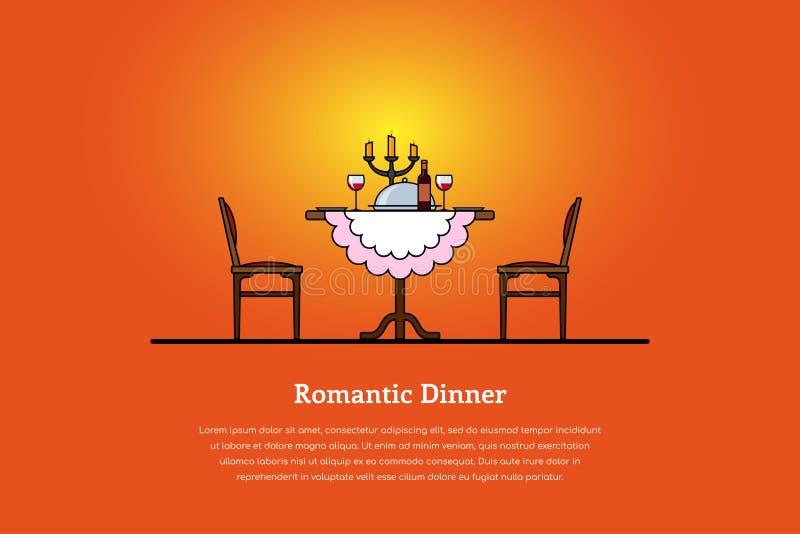 Concept romantique de dîner illustration de vecteur