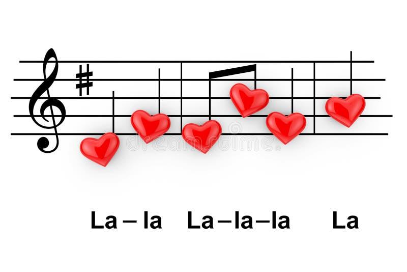 Concept romantique de musique Notes abstraites en tant que coeurs rouges renderi 3D illustration stock