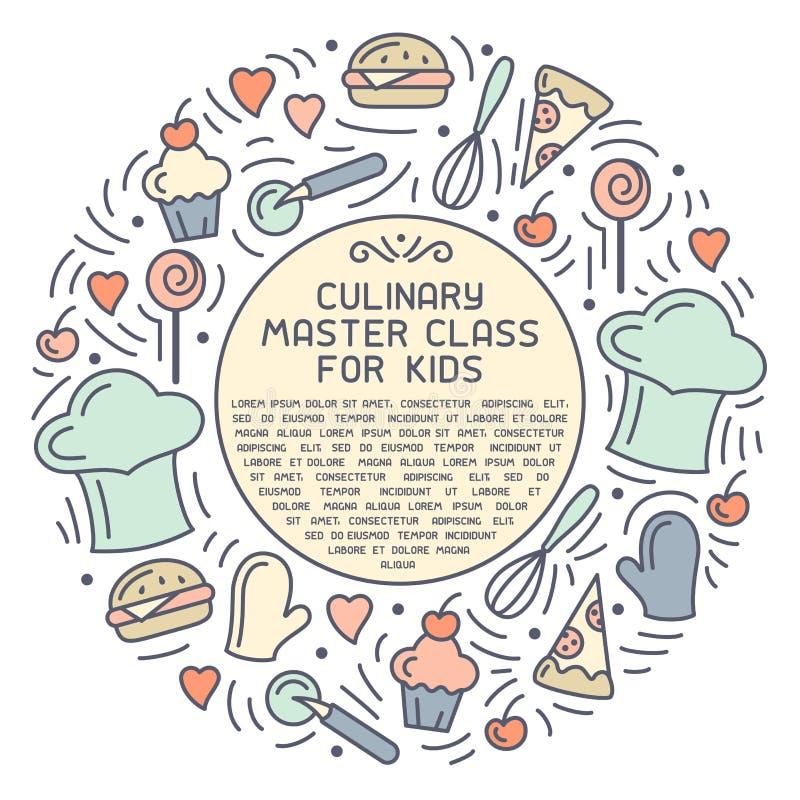 Concept rond de classe principale culinaire pour des enfants illustration de vecteur