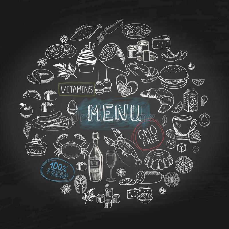 Concept rond de menu tiré par la main de café illustration de vecteur