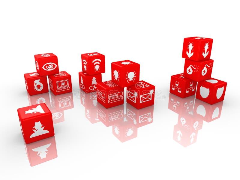Concept rouge de cybersecurity de matrices illustration de vecteur