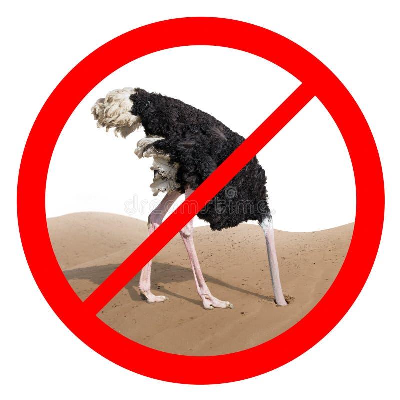 Concept rouge de signe interdit par comportement d'autruche photos stock