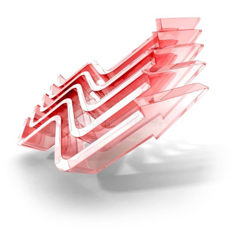 Concept rouge Team Group de Rising Up Arrow du Chef Conduite illustration stock