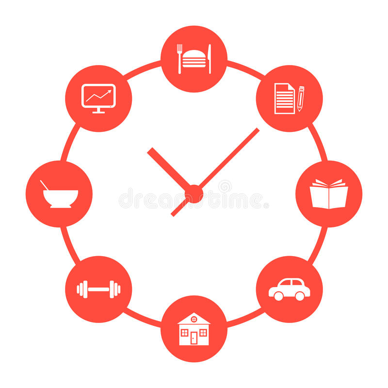 Concept of daily routine with red simple watches royalty free illustration