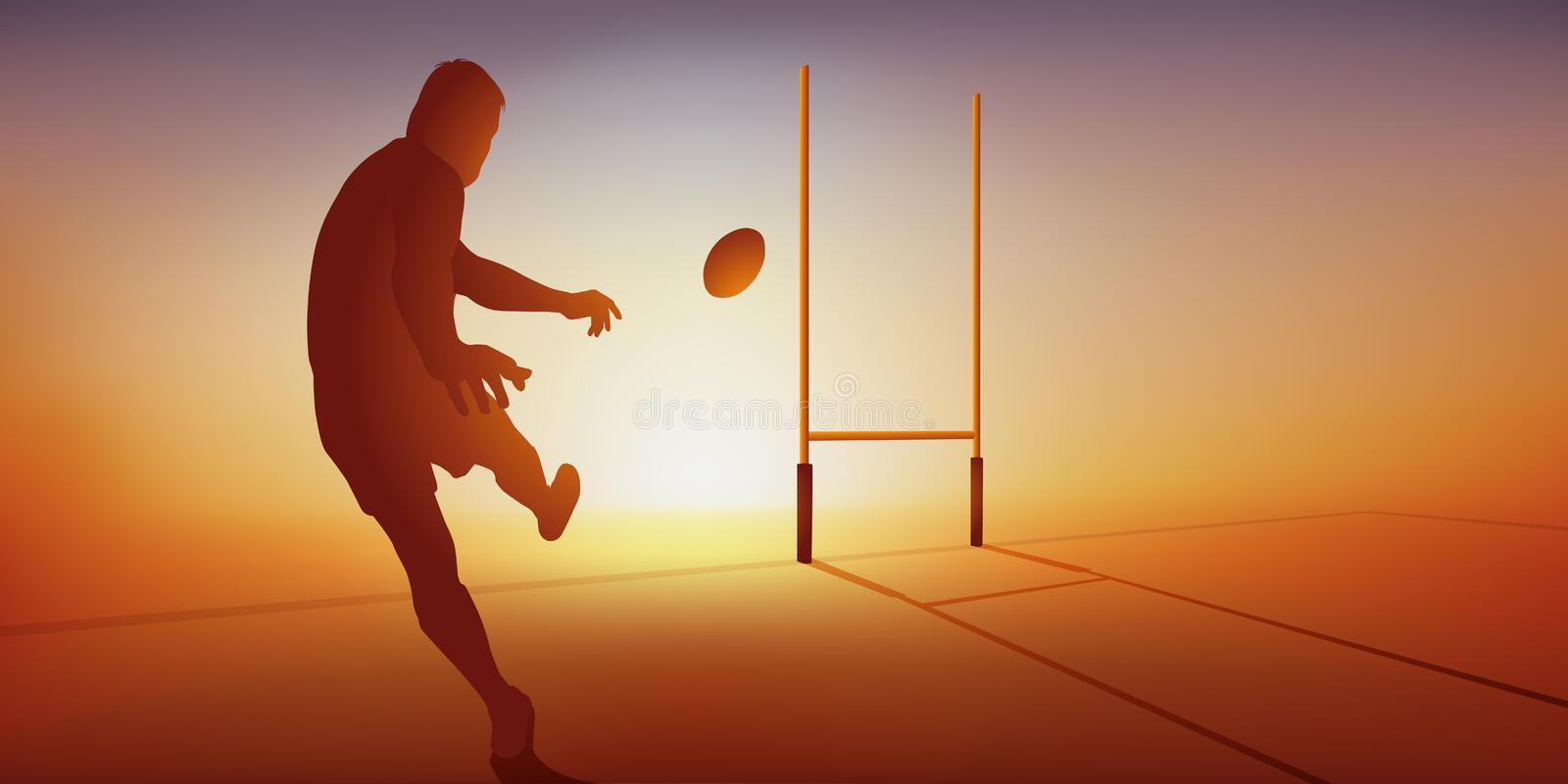 A rugby player successfully transformed a try by hitting the ball with his foot. stock illustration