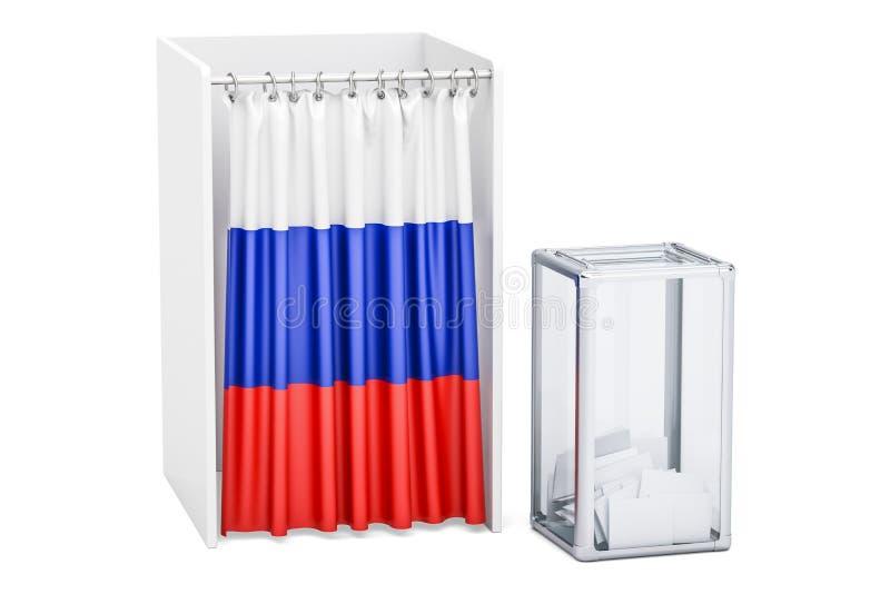 Concept russe d'élection, urne et cabines de vote avec le drapeau illustration libre de droits