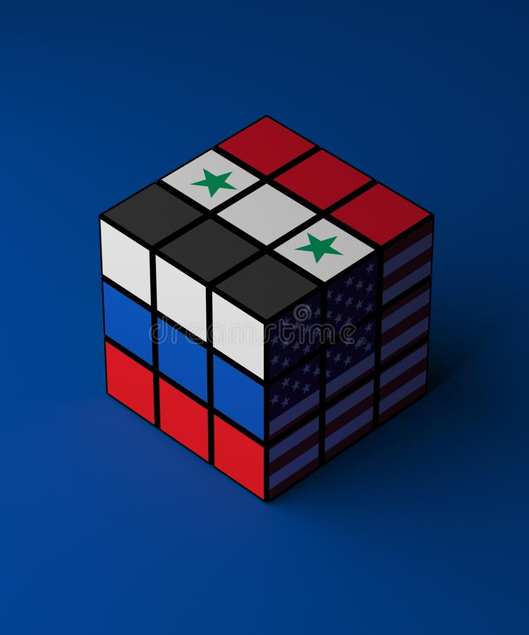 Concept of Russia, Syria, USA conflict problem solved rubik. 3D illustration vector illustration