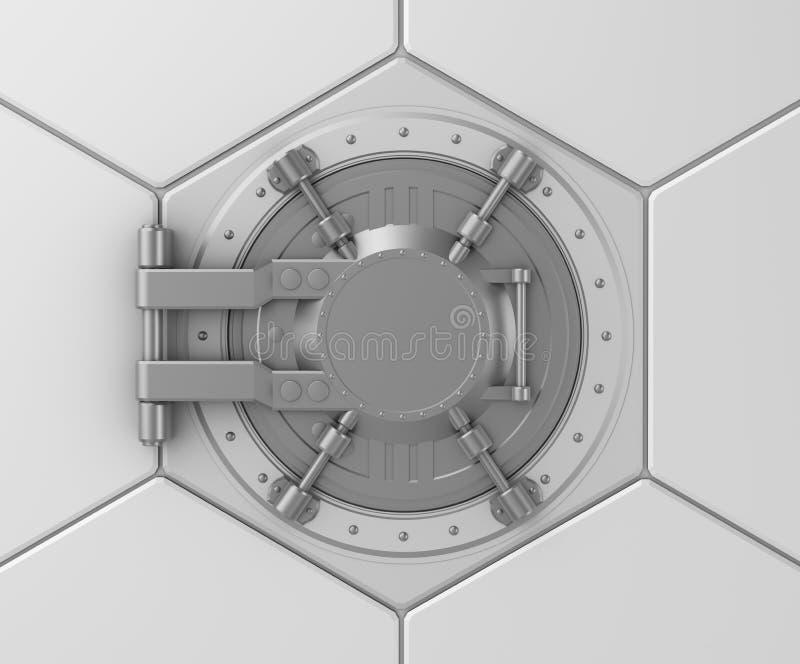 Concept sûr de trappe de chambre forte de côté. illustration de vecteur