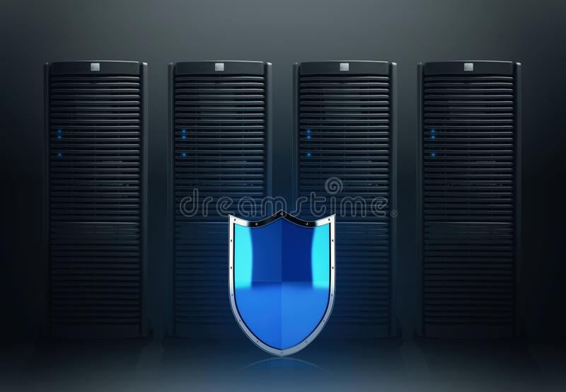 Concept of safety in a data center room with database server royalty free stock photo