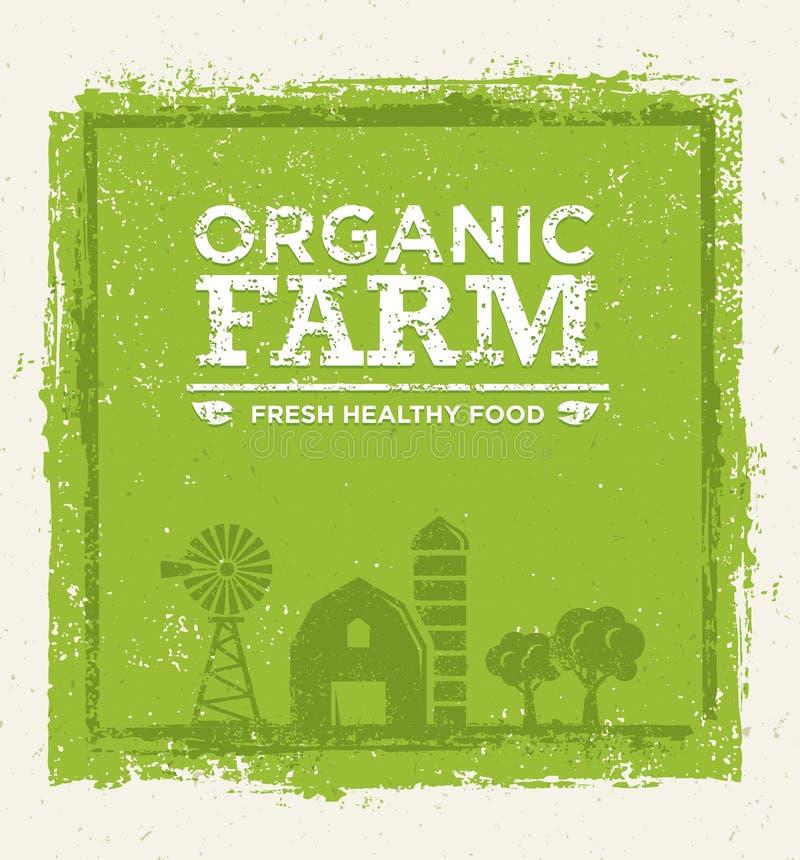 Concept sain frais de vecteur de vert d'Eco de nourriture de ferme organique sur le fond de papier illustration libre de droits