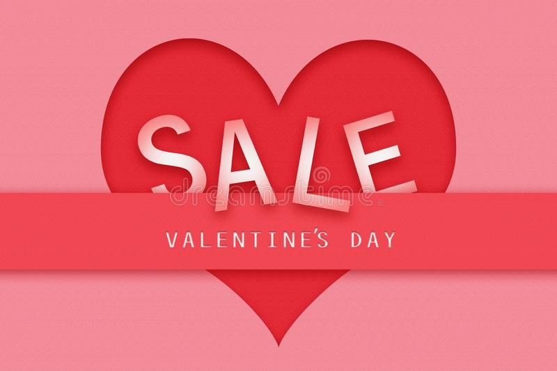 Concept Sale to Valentine`s Day. Red paper heart on a pink background. Business. Sales royalty free illustration