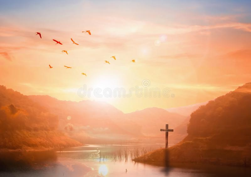 The concept of salvation:The Cross symbol of christian and Jesus Christ. Christian concept background:Eucharist Therapy Bless God Helping Repent Catholic Easter royalty free stock photo