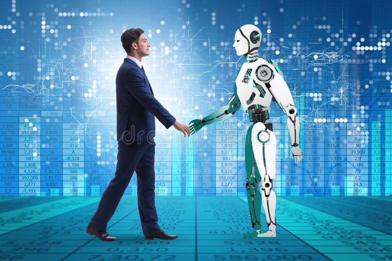 Concept samenwerking tussen mensen en robots stock foto