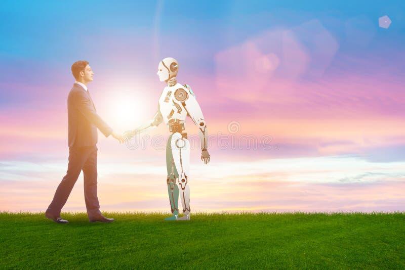 Concept samenwerking tussen mensen en robots stock foto's
