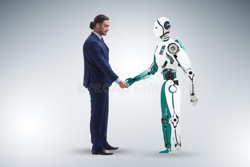 Concept samenwerking tussen mensen en robots royalty-vrije stock fotografie