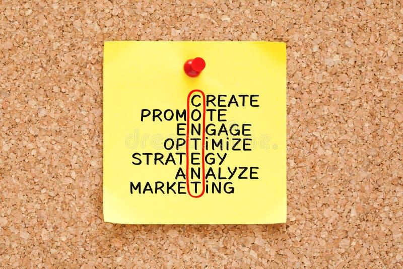 Concept satisfait de mots croisé de stratégie marketing sur la note collante images stock