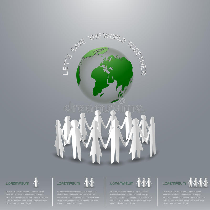 Concept of save the earth,man and women holding hands around the world. Paper art and origami style vector illustration